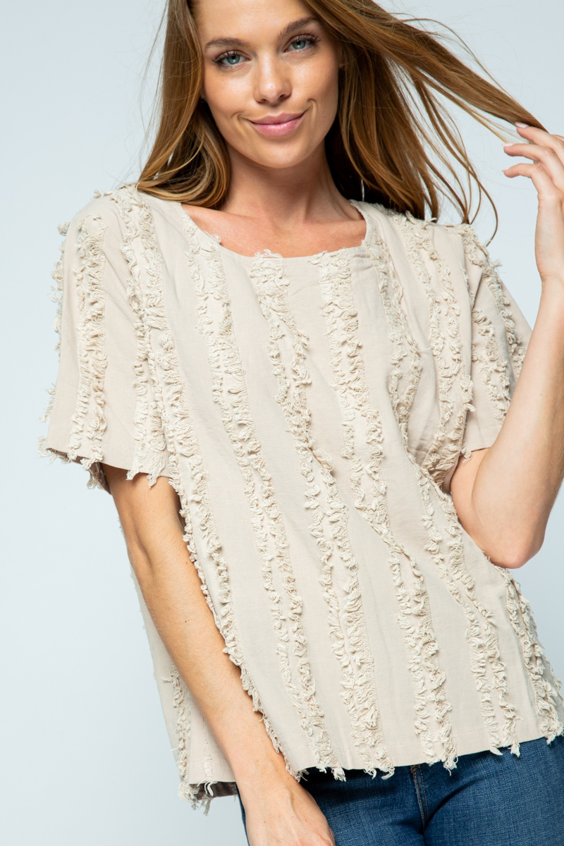 SHORT SLEEVE DISTRESSED FRINGE  - orangeshine.com