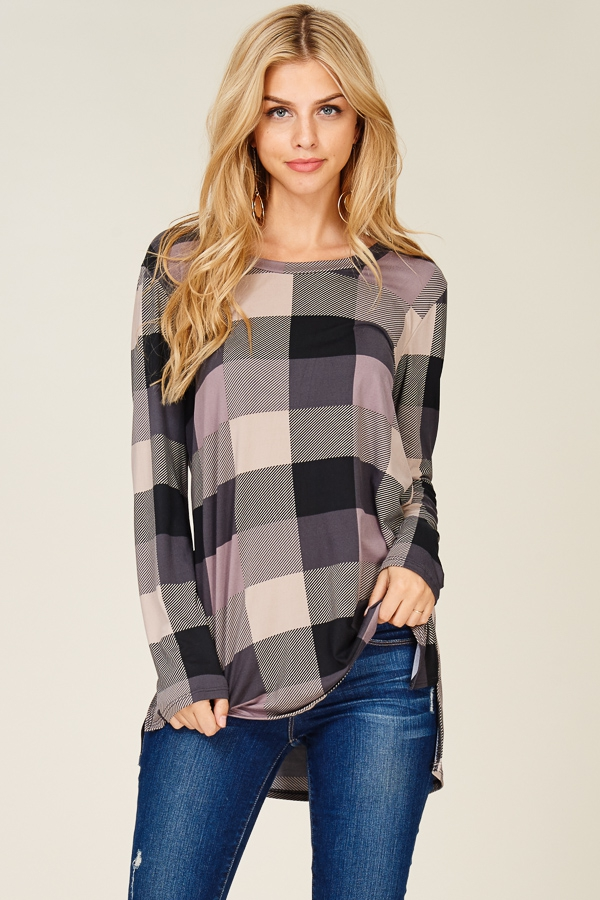 LOOSE FIT CHECKER LONG SLEEVE TOP - orangeshine.com