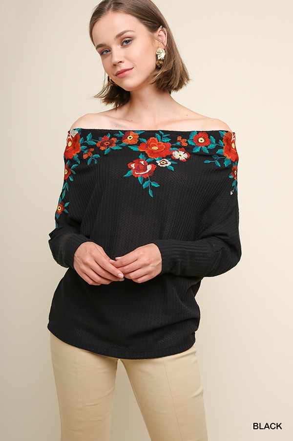 Embroidered Off Shoulder Crochet Top - orangeshine.com