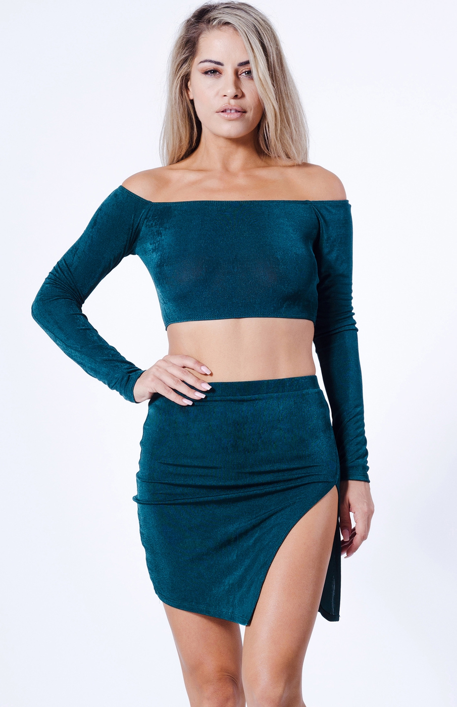 OFF SHOULDER SOLID TWO PIECE SET  - orangeshine.com