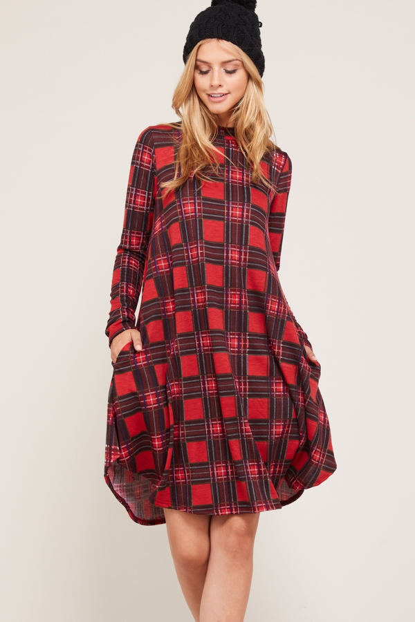 HIGH NECK PLAID SWING DRESS - orangeshine.com