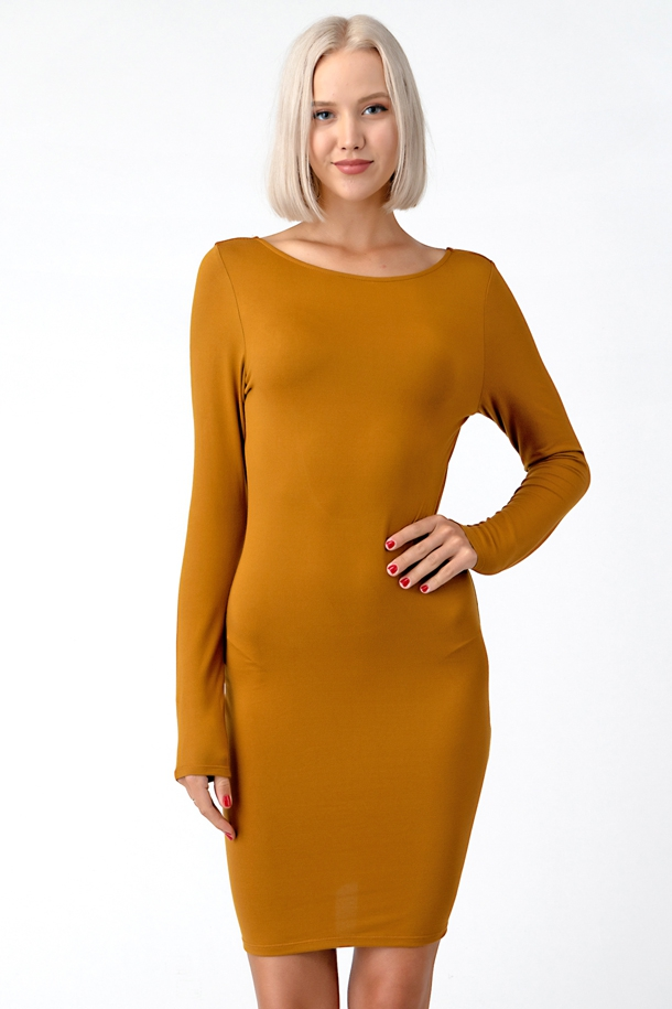 OPEN BACK SCOOP LONG MIDI DRESS - orangeshine.com