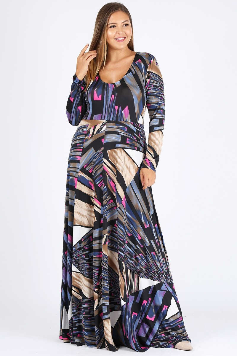 Multi-print Long Sleeve Maxi Dress  - orangeshine.com