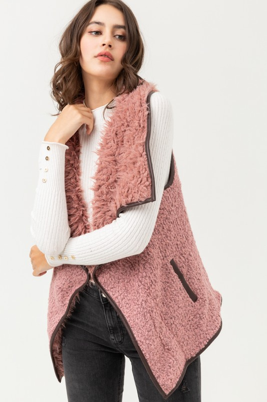 Fur Collared Draped Sherpa Vest - orangeshine.com