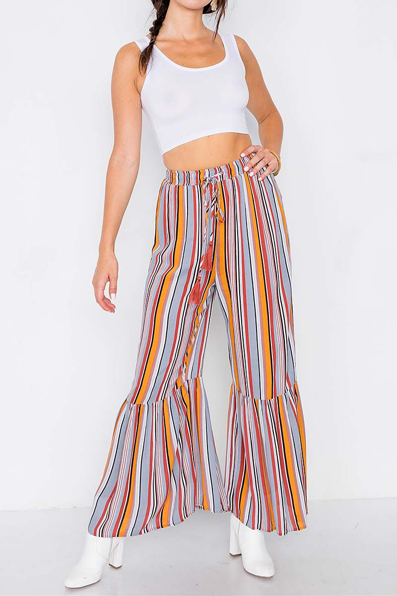 MULTI STRIPE FLARE ANKLE PANTS - orangeshine.com