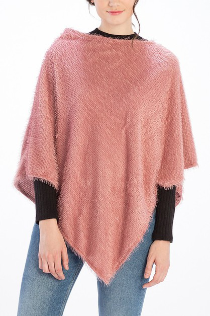 SOLID COLOR FUZZY TEXTURED PONCHO - orangeshine.com