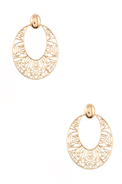 OVAL FILIGREE DANGLE EARRING - orangeshine.com