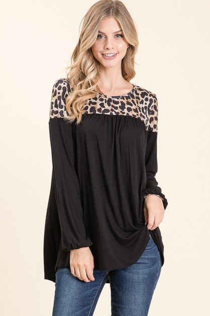 ANIMAL CONTRAST COLOR BLOCK TOP  - orangeshine.com