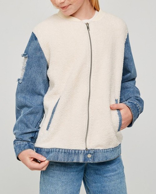 Denim Sherpa Bomber Jacket - orangeshine.com