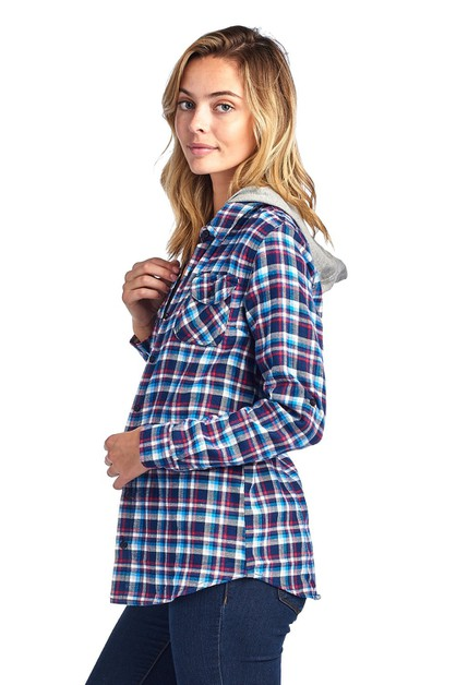 HOODED LONG SLEEVE PLAID FLANNEL - orangeshine.com
