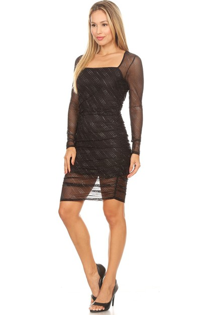 GLITTER MESH LAYERED MINI DRESS - orangeshine.com