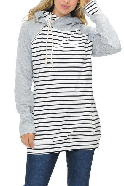 Women Double Hoodie Stripe Jacket  - orangeshine.com