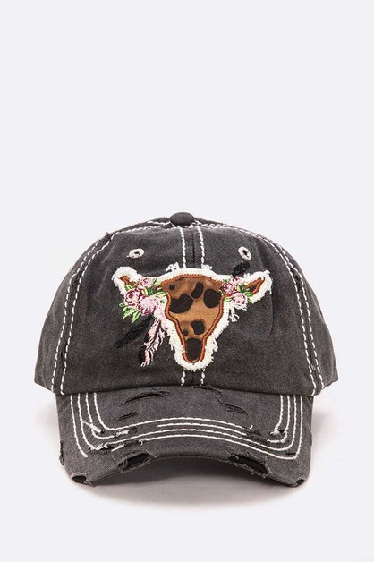 Animal Printed Steer Head Cotton Cap - orangeshine.com