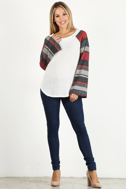 Solid Striped Bell Sleeve Top - orangeshine.com