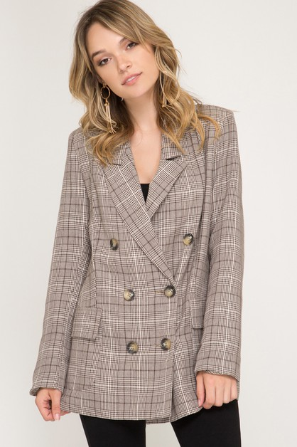 GLEN PLAID DOUBLE BREASTED BLAZER - orangeshine.com