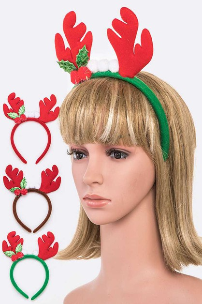 Christmas Antlers Holiday Headband S - orangeshine.com