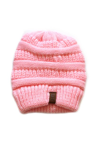 Pink Knit Beanie kids hat - orangeshine.com