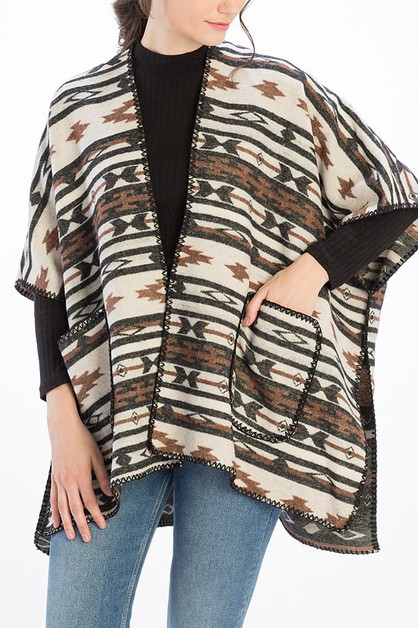 AZTEC PATTERN CAPE  - orangeshine.com