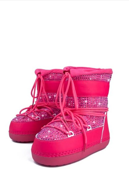 Lace Up Glitter Snow Boots - orangeshine.com