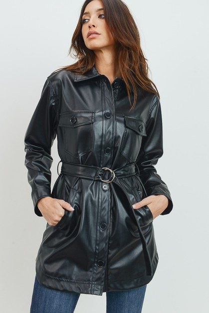 Faux PU Belted long jacket - orangeshine.com