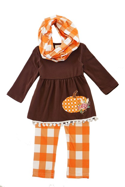 Brown pumpkin check tunic pants - orangeshine.com