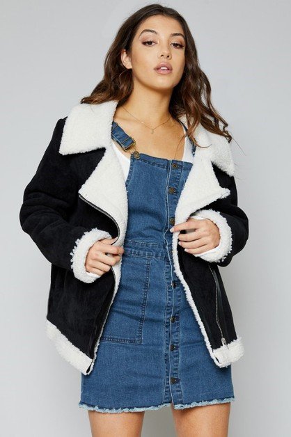 BEAT GOES ON ZIP UP SHEARLING JACKET - orangeshine.com