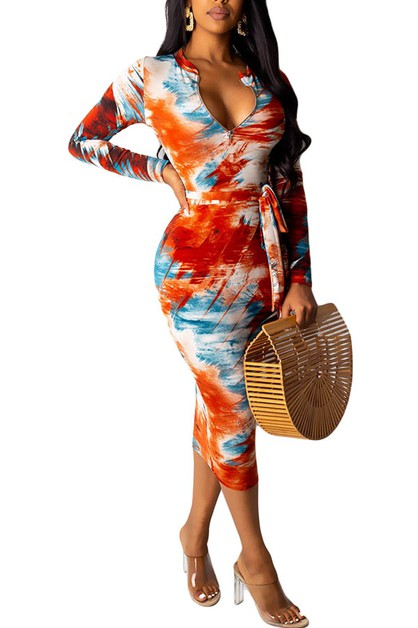 DEEP V NECK  MAXI DRESS LONGSLEEVE - orangeshine.com