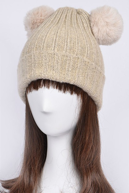 Knit Beanie With Two Puff Balls - orangeshine.com
