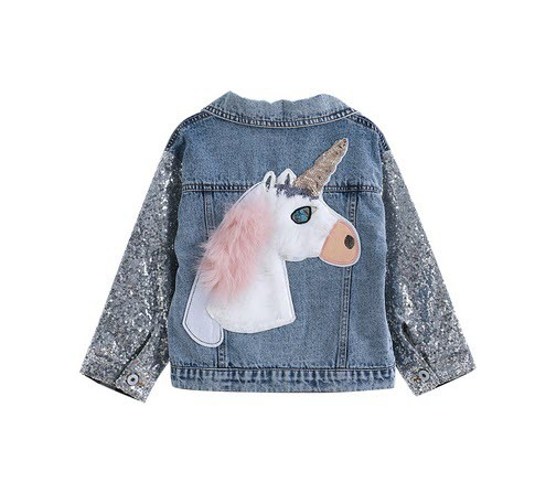 Sequin Unicorn denim jacket - orangeshine.com