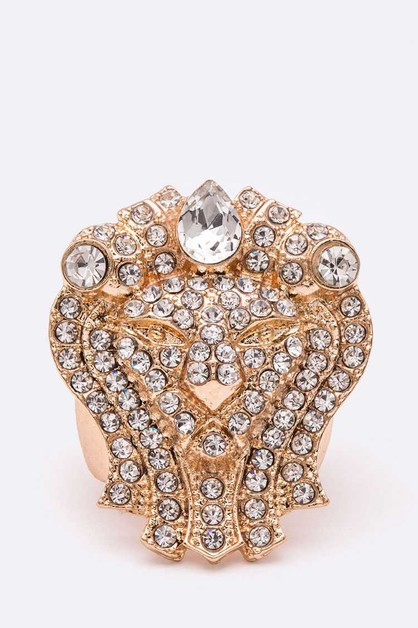 Crystal Lion Iconic Stretch Ring - orangeshine.com