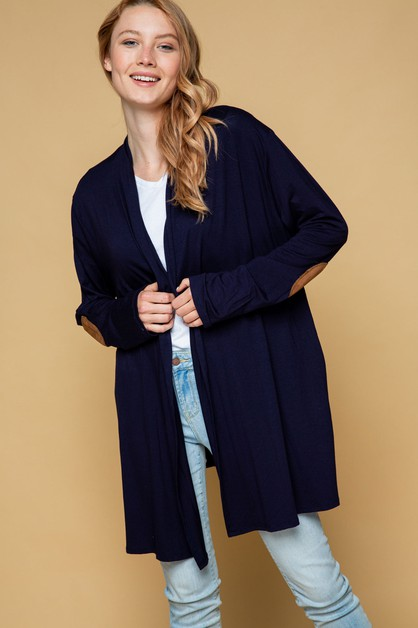 POCKETS CARDIGAN WITH ELBOW PATCHES  - orangeshine.com