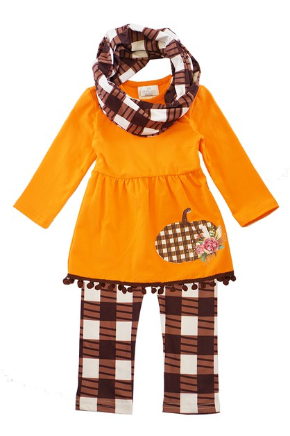 Orange plaid pumpkin 3 pcs tunic - orangeshine.com