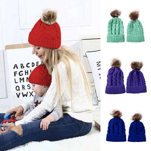 2PC Mom me matching knit hats - orangeshine.com