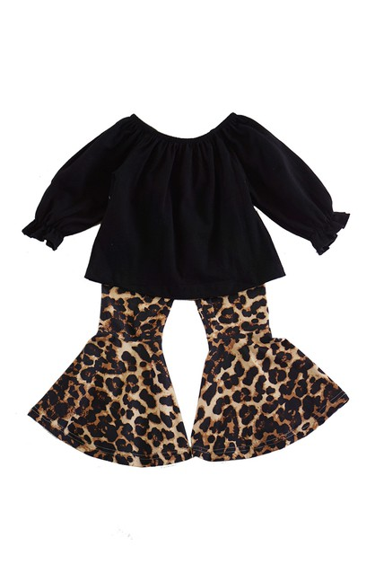 Black top with leopard bell pants - orangeshine.com