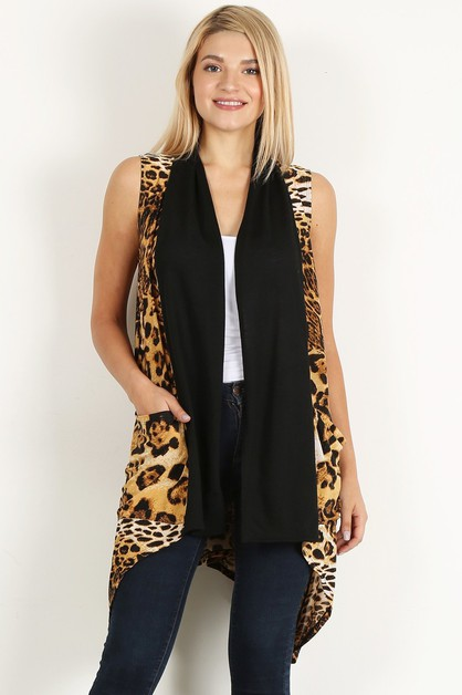 leopard long body vest pocket - orangeshine.com