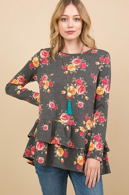FLORAL PRINT RUFFLE LAYERED TOP - orangeshine.com