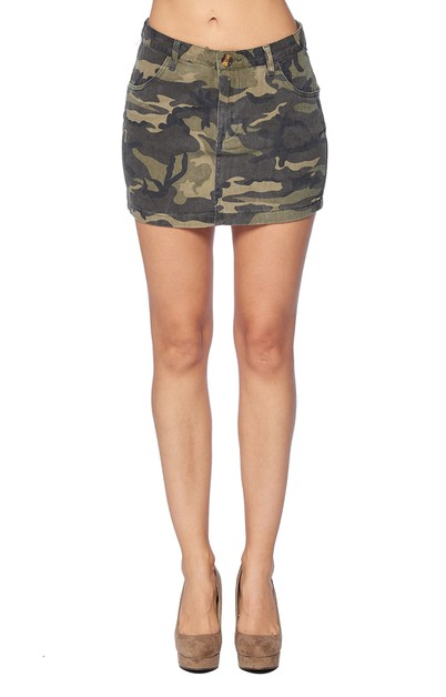 CAMOUFLAGE NON STRETCH MINI SKIRT - orangeshine.com