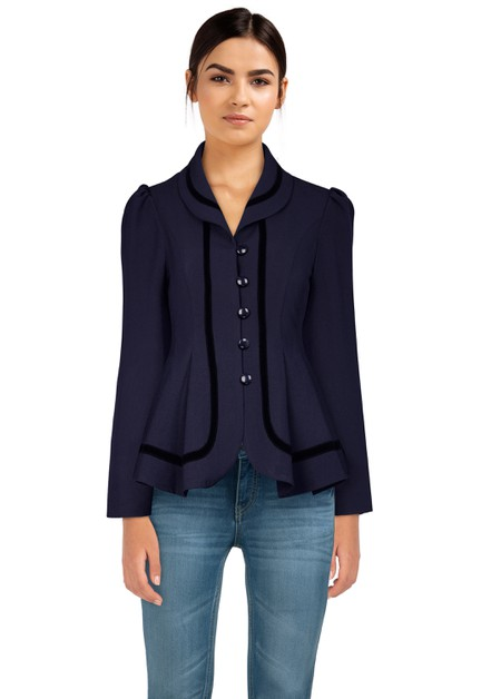 Plus Size Navy Velvet Trims Jacket - orangeshine.com