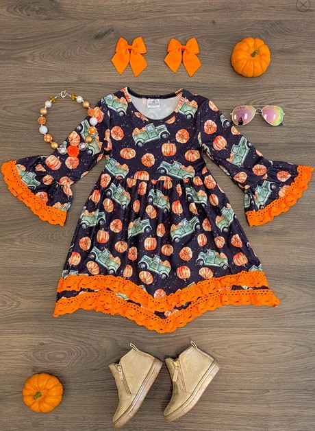 Pumpkin Truck Lace Bell Sleeve Dress - orangeshine.com