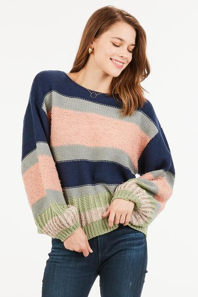 KNITTED STRIPED BELL SLEEVED SWEATER - orangeshine.com