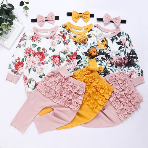3PC FLoral Top Ruffle pant set - orangeshine.com