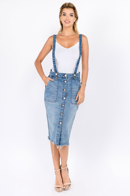 DENIM SKIRTS WITH SHOULDER STRAP - orangeshine.com