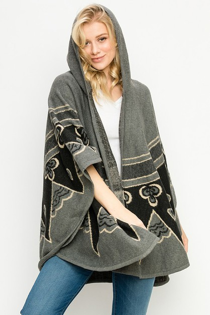 TRIBAL PONCHO ATTACHED HOOD - orangeshine.com