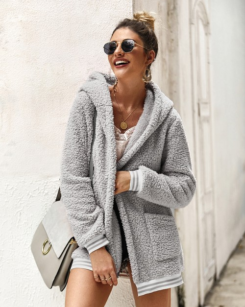 Open Front Hooded Cardigan Outwear - orangeshine.com