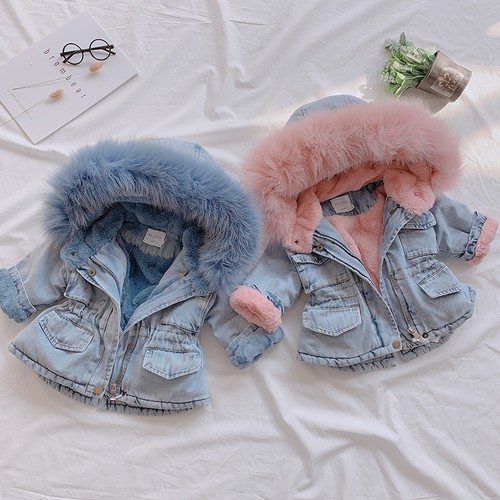 Faux Fur Hooded Denim Jacket - orangeshine.com