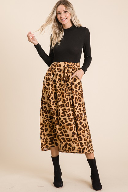 Animal Print Contrast Midi Dress - orangeshine.com