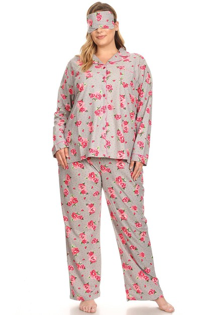 Plus Size Three-Piece Pajama Set - orangeshine.com