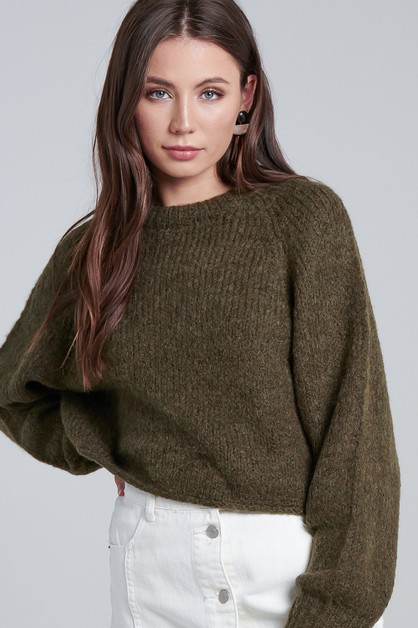 ROUND NECK KNIT SWEATER - orangeshine.com