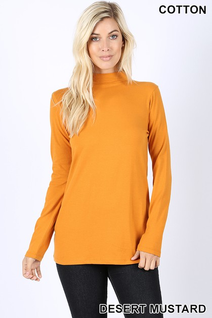 COTTON MOCK NECK TOP  - orangeshine.com