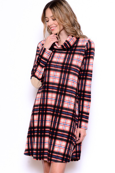 PLAID TURTLENECK DRESS - orangeshine.com